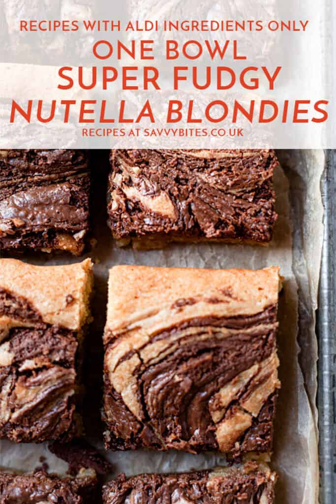 Nutella blondies in a baking tray with text overlay