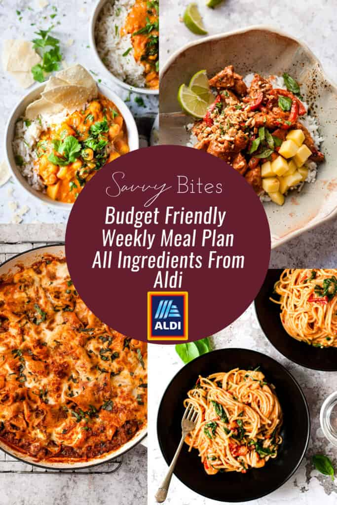 Collage of healthy Aldi recipes for the budget meal plan