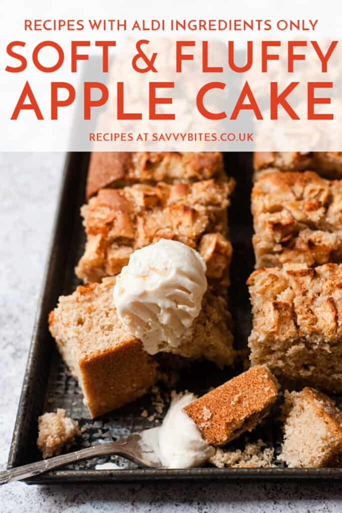 Apple cake in slices on a baking tray with ice cream & text overlay.