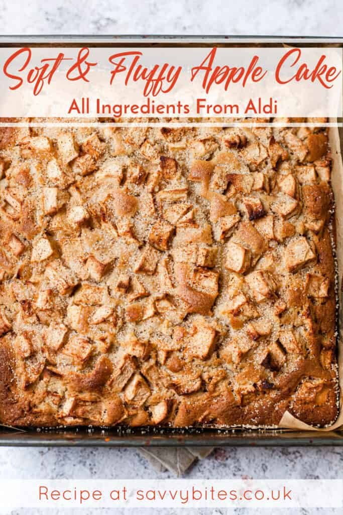 Apple cake in a baking tin with sugar topping and text overlay.