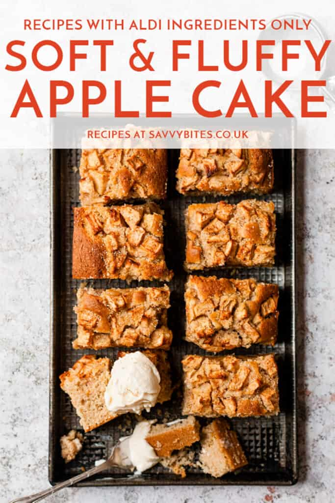 Apple cake in slices on a baking tray with text overlay.