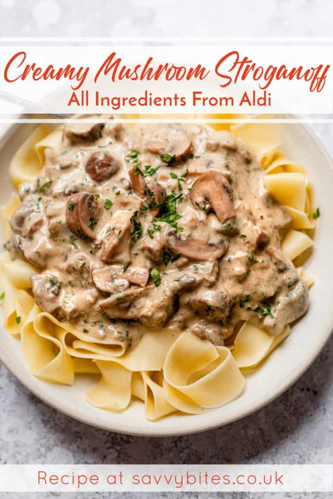 This vegetarian Mushroom Stroganoff recipe is quick and easy to make in about 30 minutes, and it is perfectly comforting, hearty, savoury, and delicious. Feel free to serve over egg noodles, traditional pasta, quinoa, veggies, or whatever you've got on hand. All ingredients from Aldi. Budget meals, meal planning, cheap, healthy dinners.