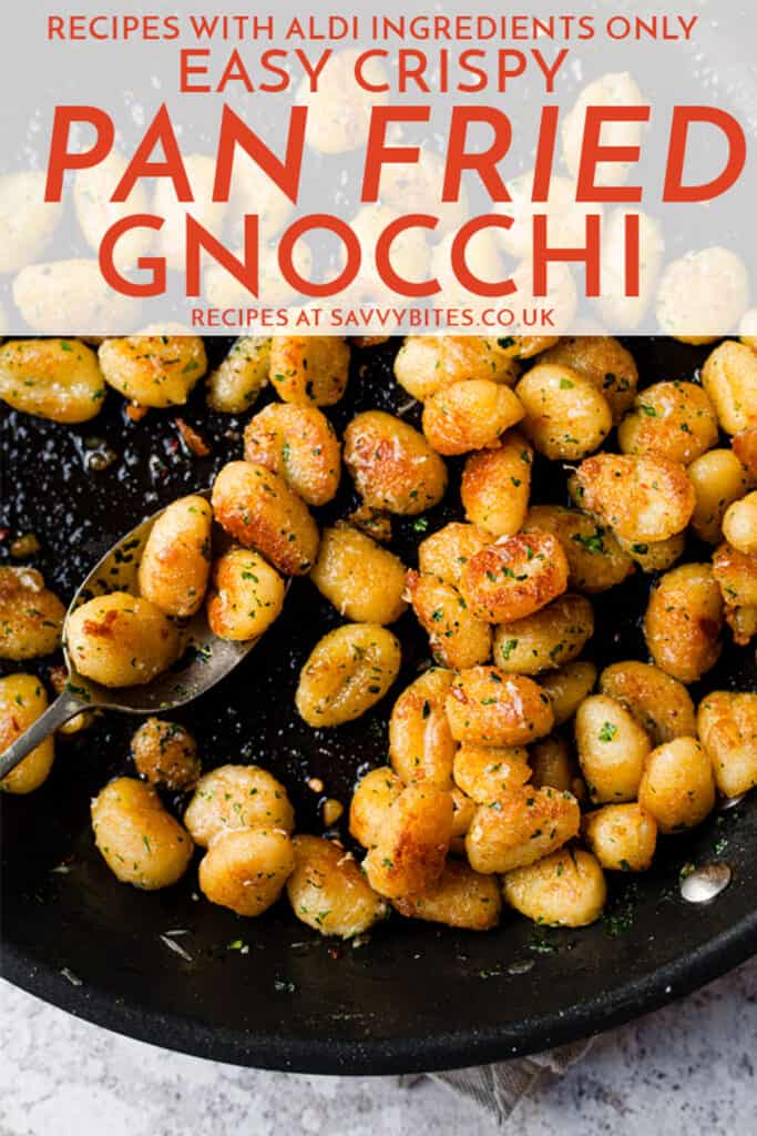 fried gnocchi in a skillet