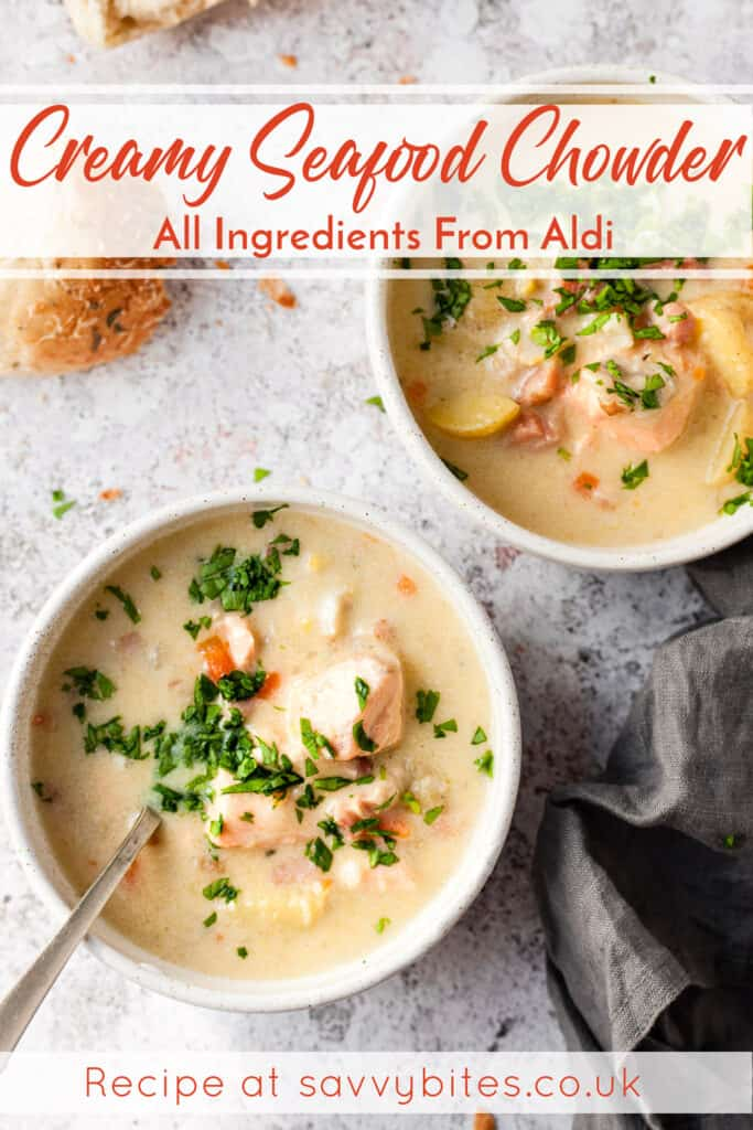seafood chowder text overlay