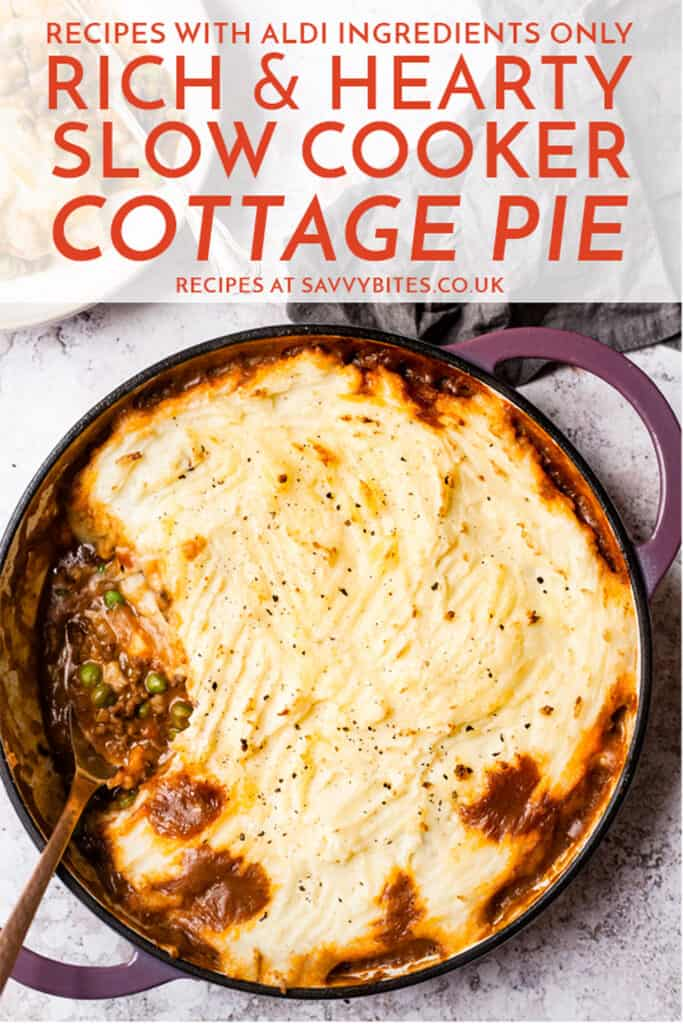 Cottage pie on a white table with a fork. text overlay.