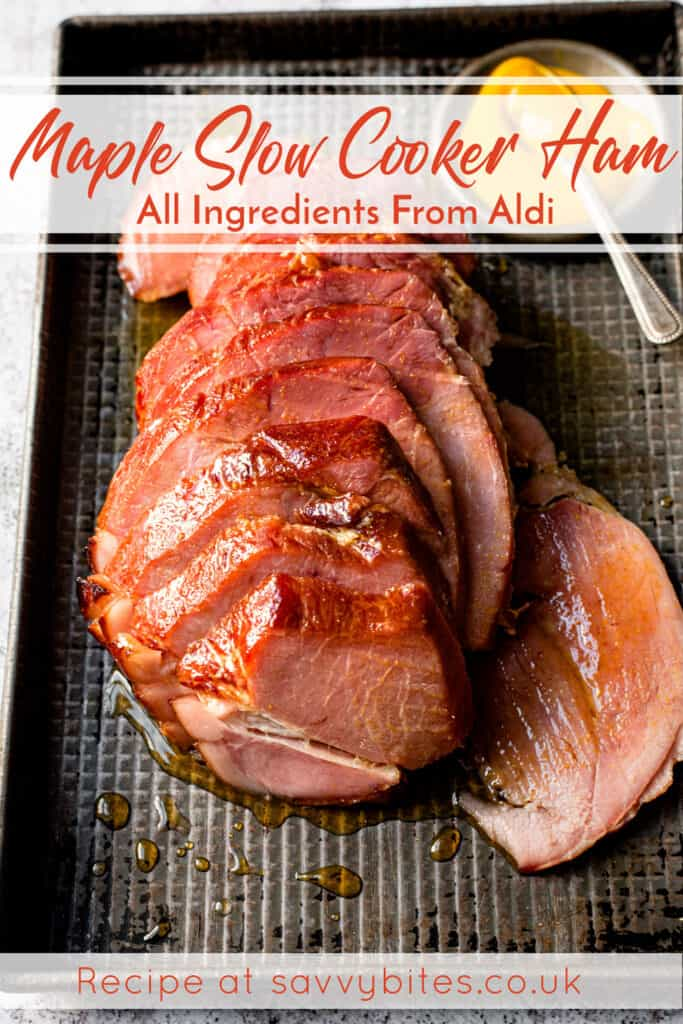Sliced slow cooker gammon with text overlay.