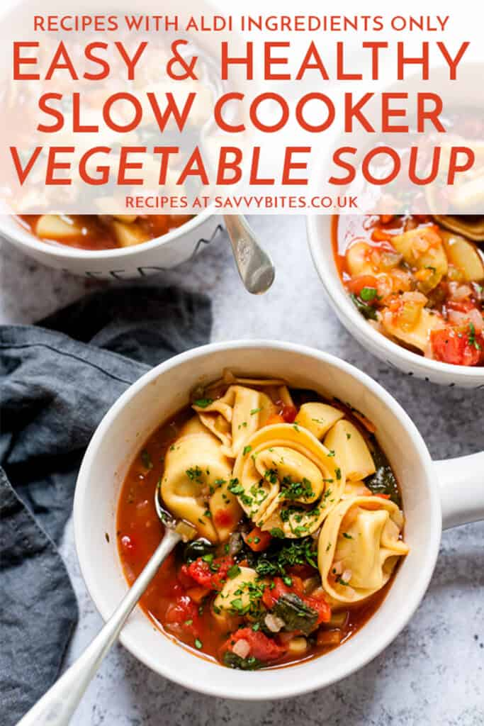 Vegetable soup in white bowls with a napkin and text overaly.
