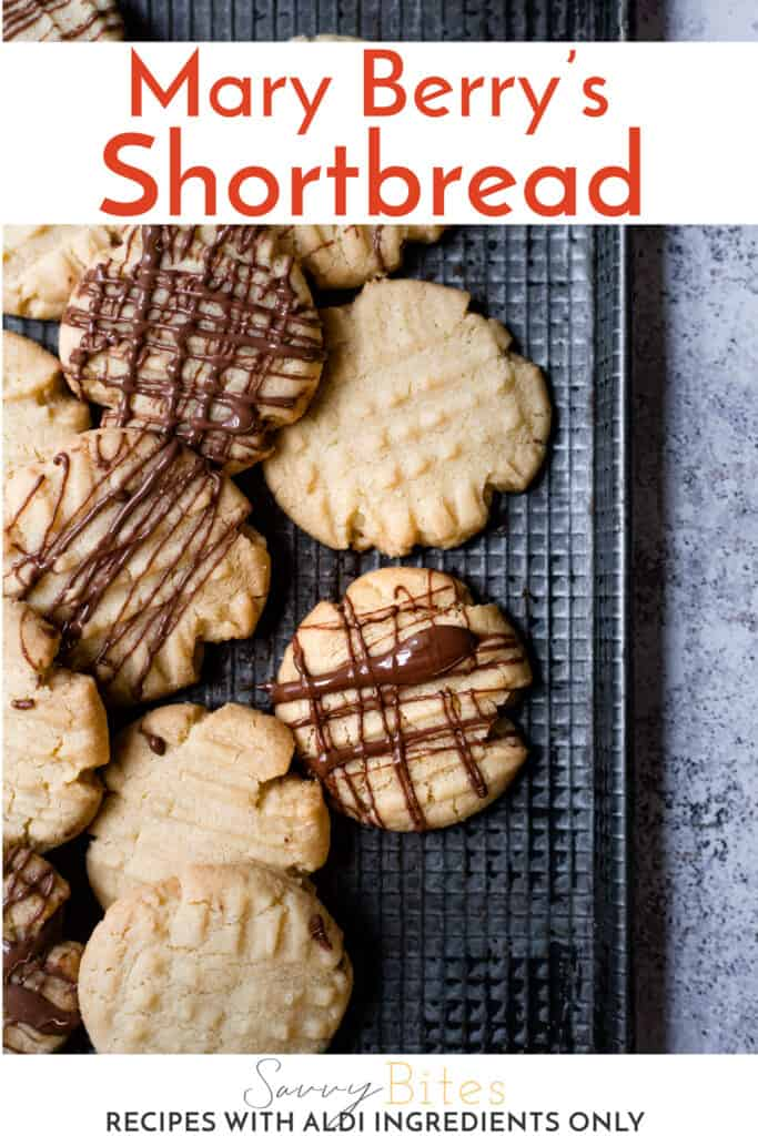 chocolate drizzled fork biscuits with text overlay.
