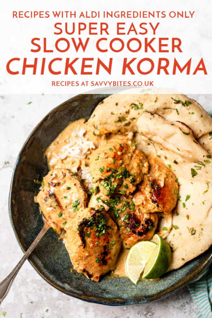 slow cooker chicken korma in a blue bowl with a fork with text overlay.