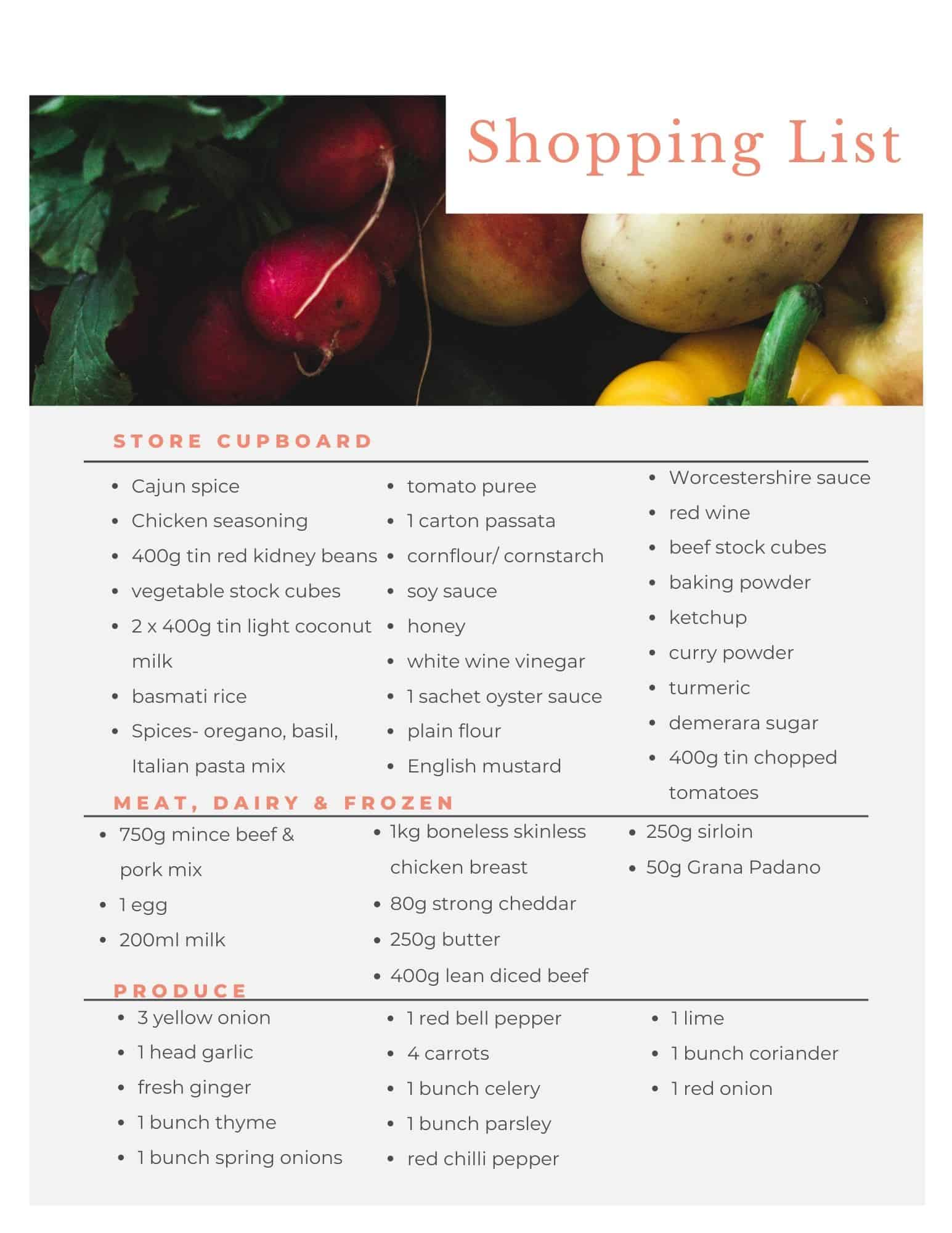 Shopping list for the Aldi budget meal plan.