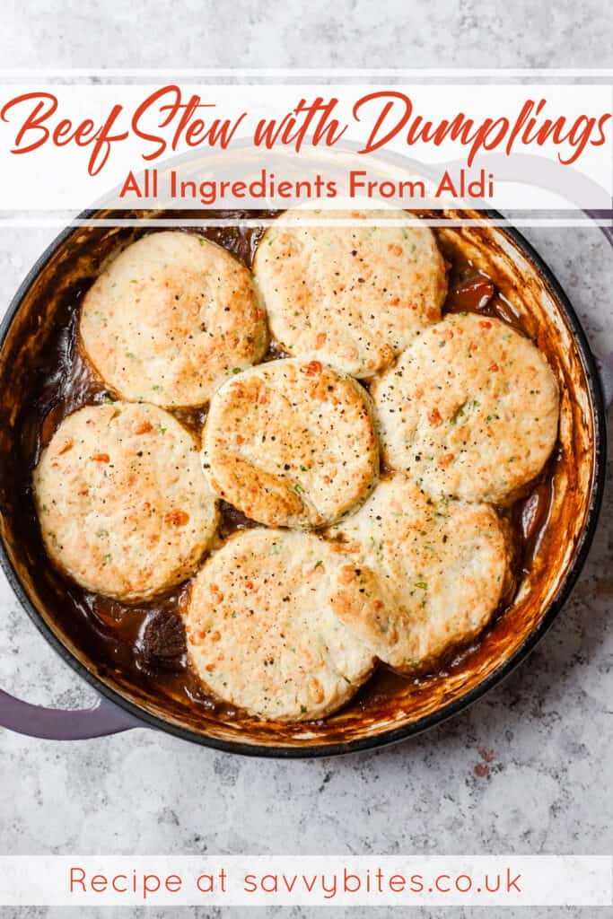 beef cobbler with cheddar scones in a casserole dish with text overlay.
