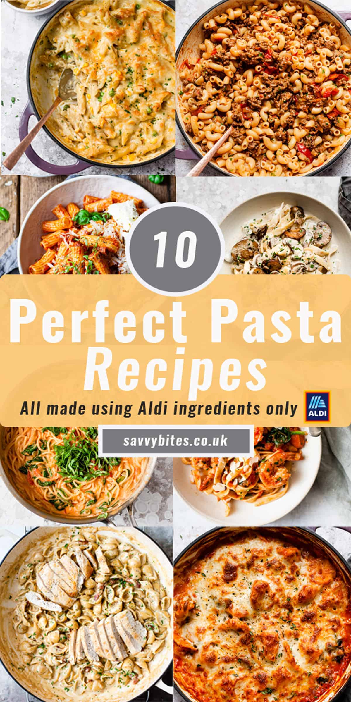 Collage photo of easy pasta recipes from Aldi.