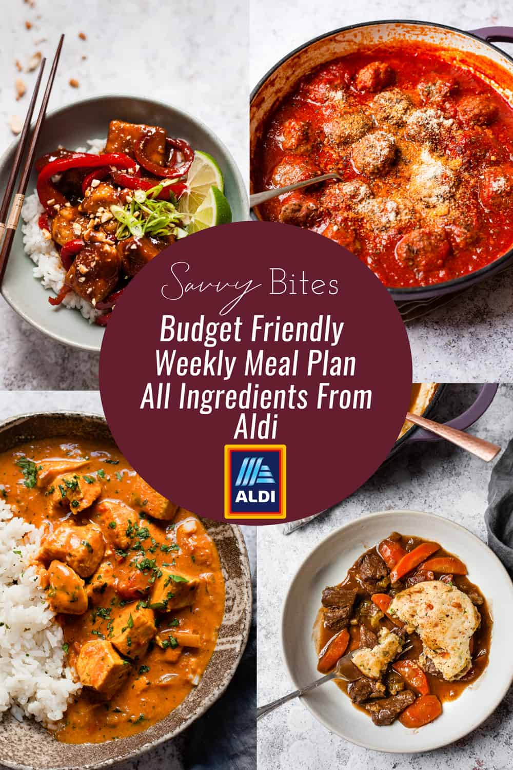 collage of dinners for the Aldi budget meal plan