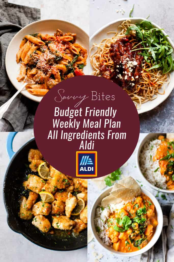 Aldi Budget Meal Plan menu collage