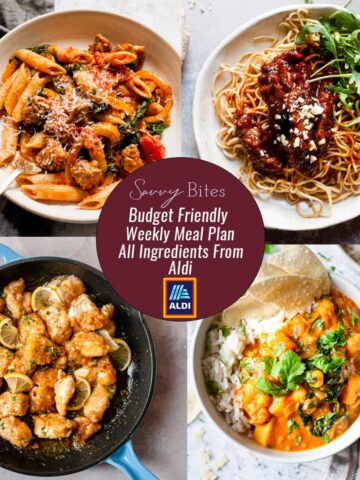Aldi Budget Meal Plan menu collage