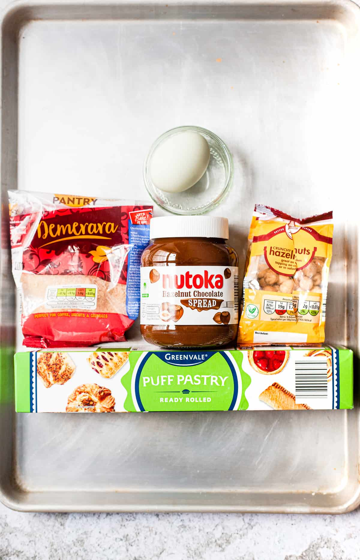 Aldi ingredients for Nutella puff pastry on a baking tray