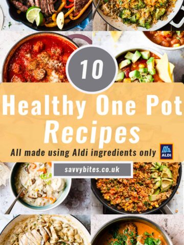 Collage of 10 photos for one pot recipes for Aldi recipes.