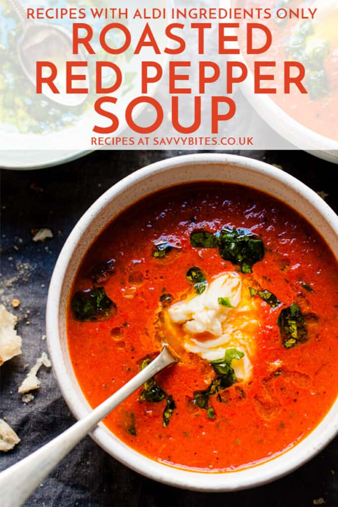 easy red pepper soup in a white bowl with text overlay.