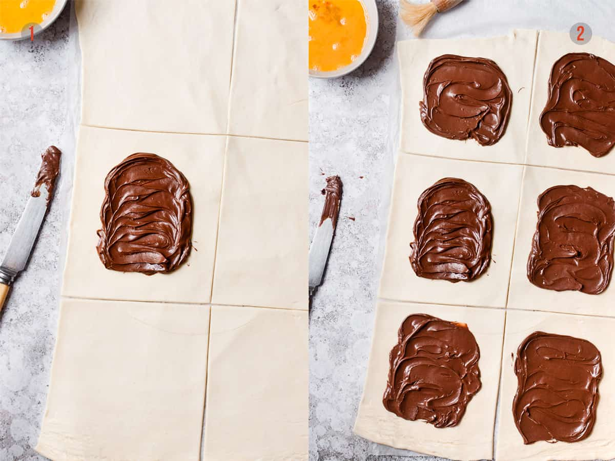 puff pastry rolled out and spread with Nutella hazelnut spread.