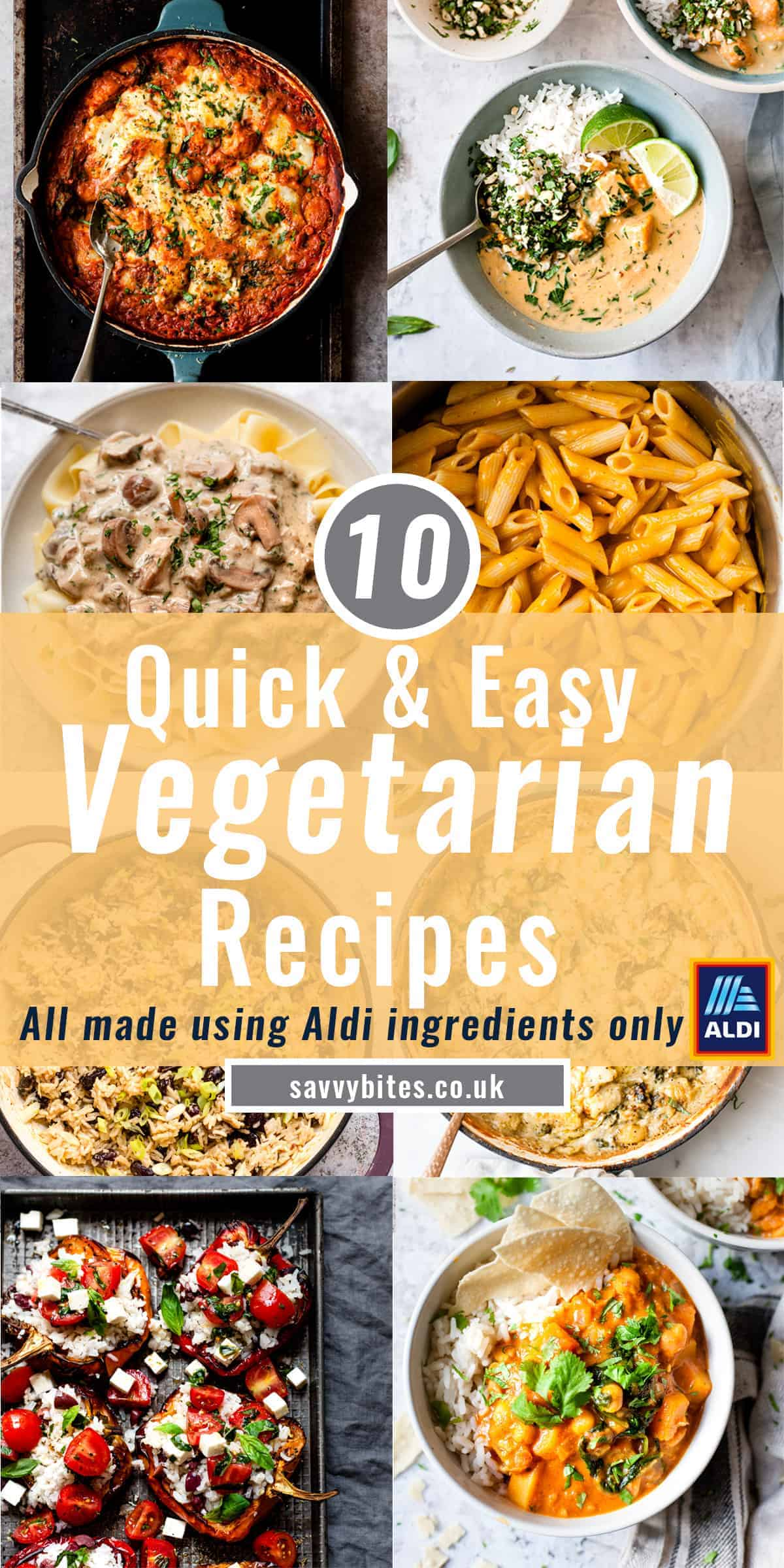 collage of vegetarian recipes for the Aldi meal plan