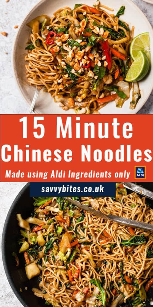 photo collage for vegetable stir fry noodles