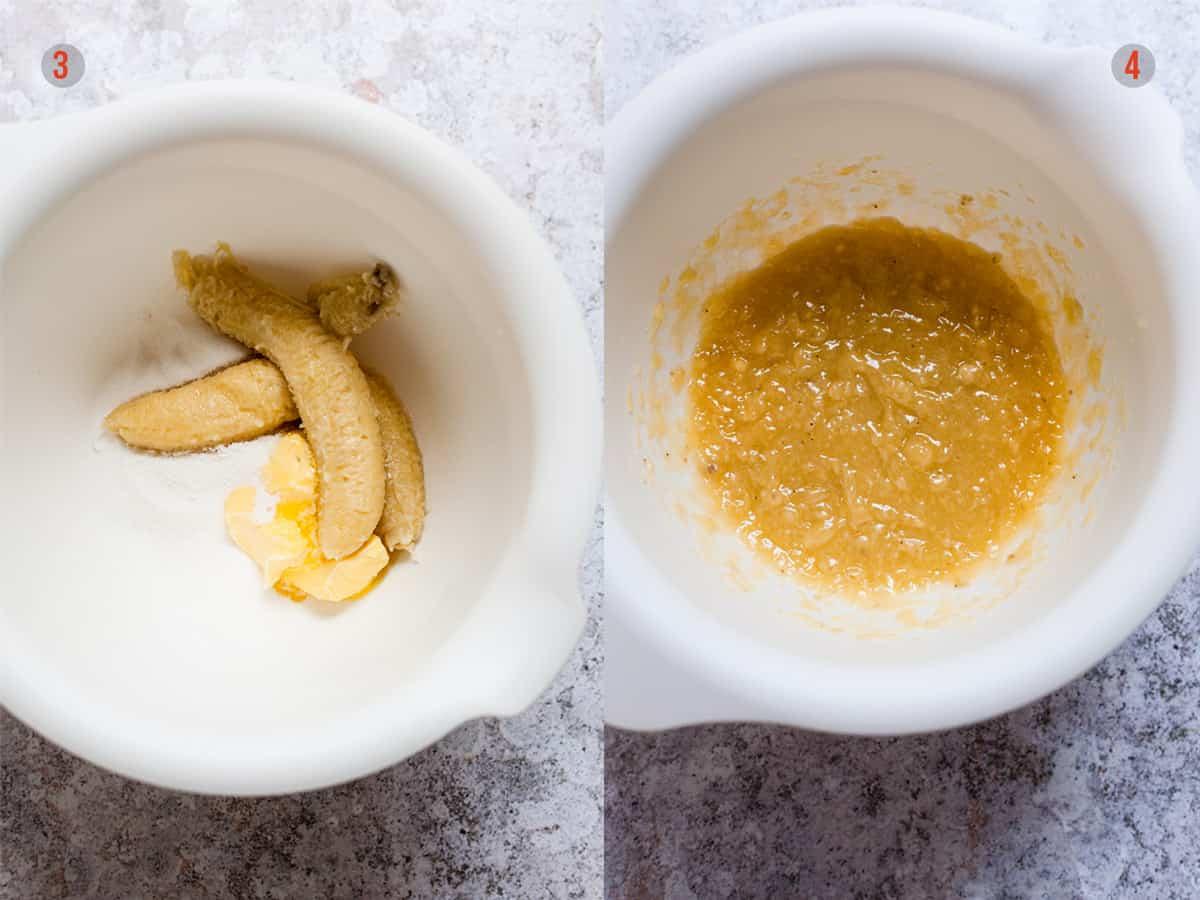 Mixing bananas and sugar for making muffins