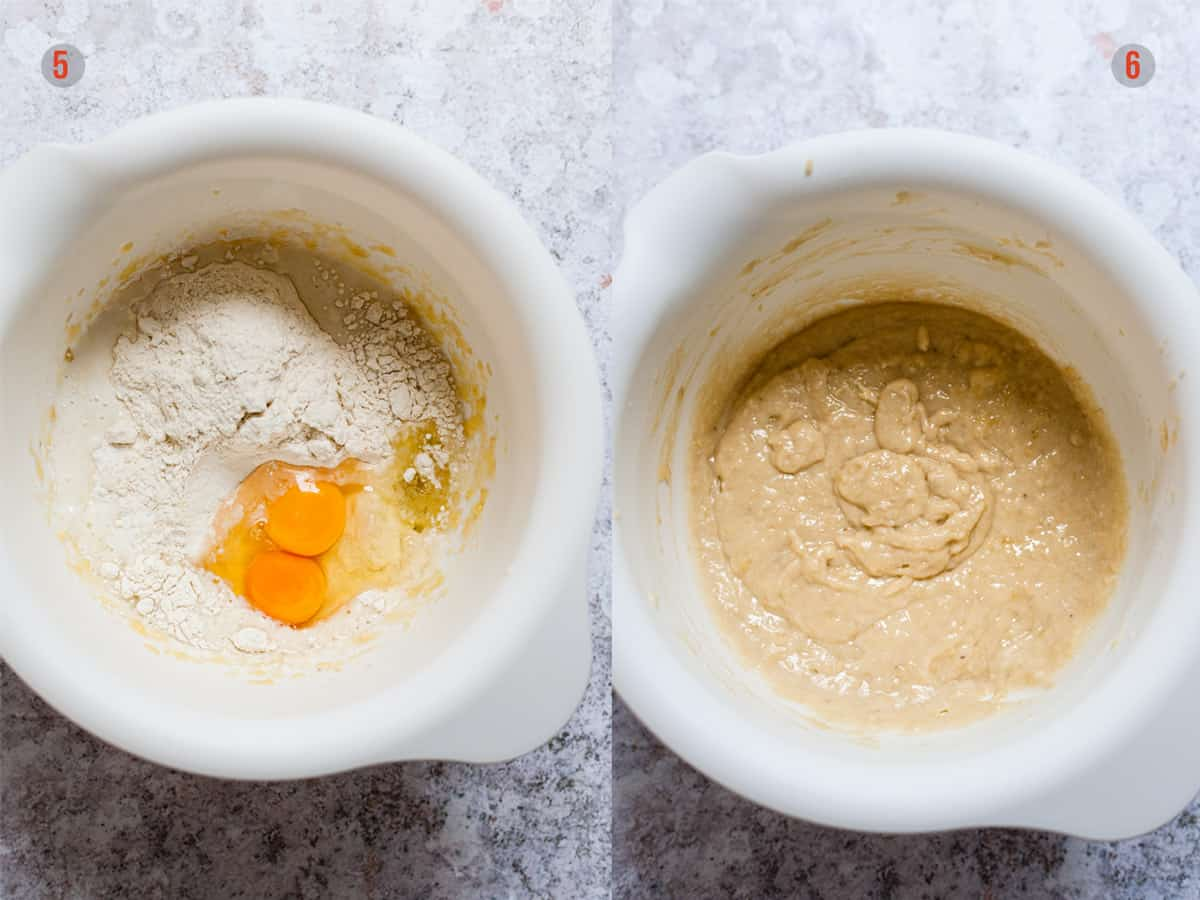 Adding flour to the mix for banana muffins in one bowl