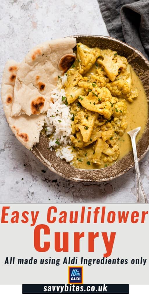 cauliflower curry in a brown bowl