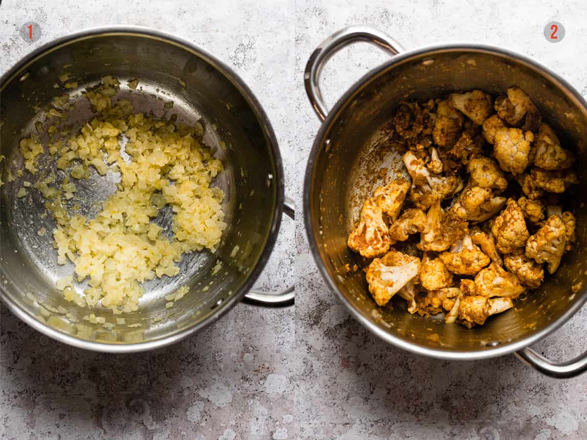 soft onions and garlic for cauliflower curry