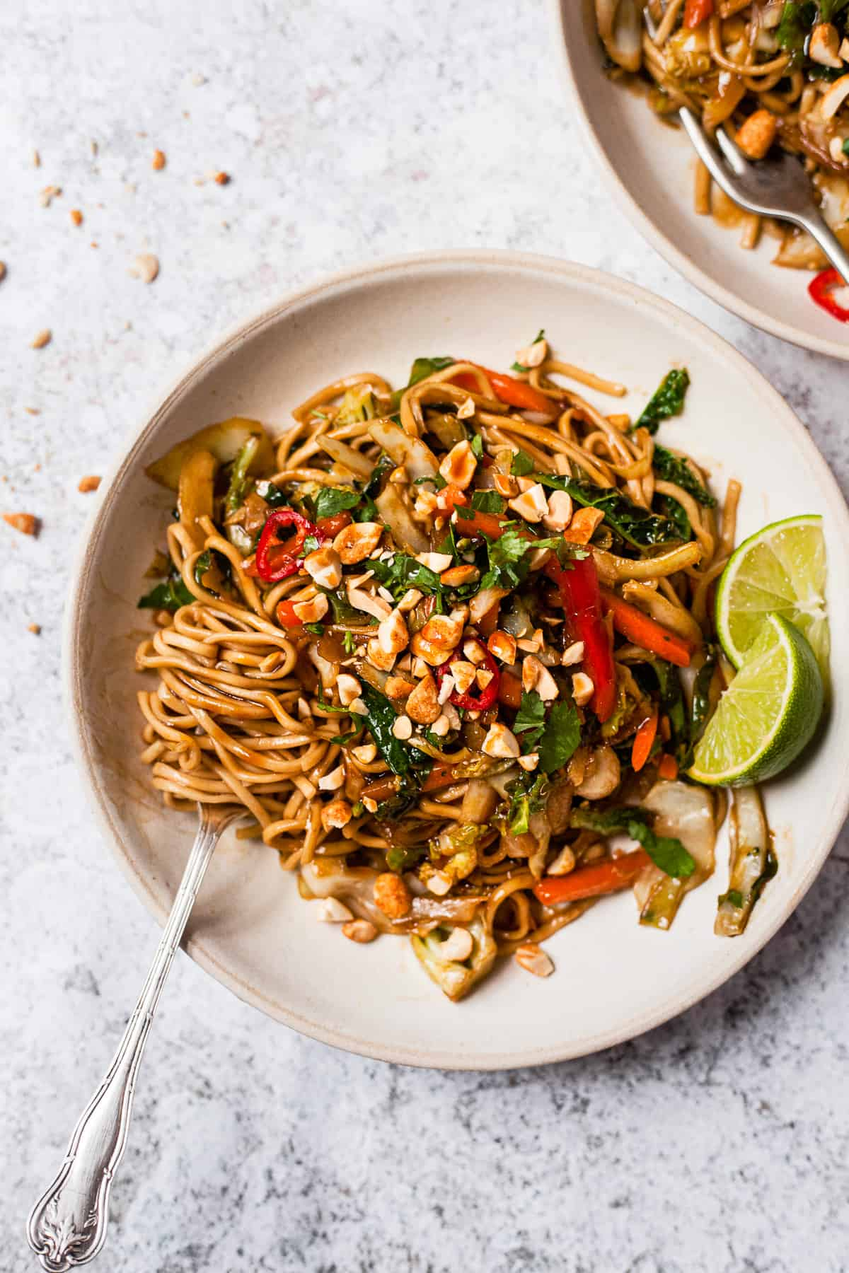 vegetable stir fry noodles in a white bowl with a fork.