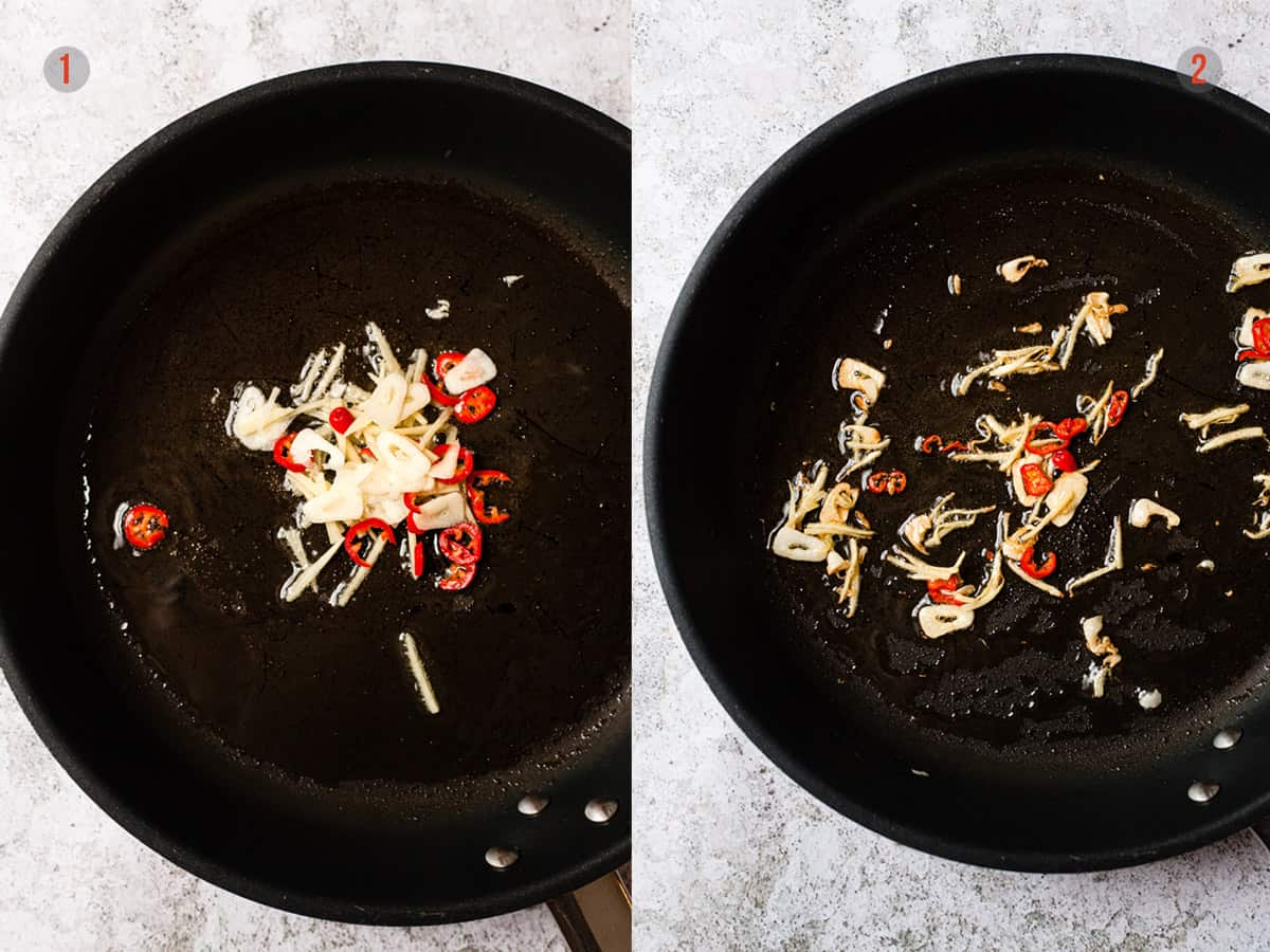 ginger, garlic and chillies frying for a stir fry