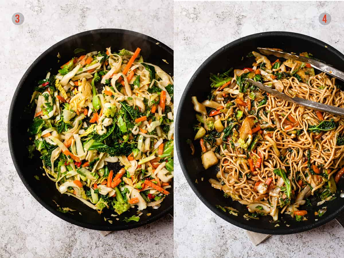 vegetables added to a pan for chinese noodles