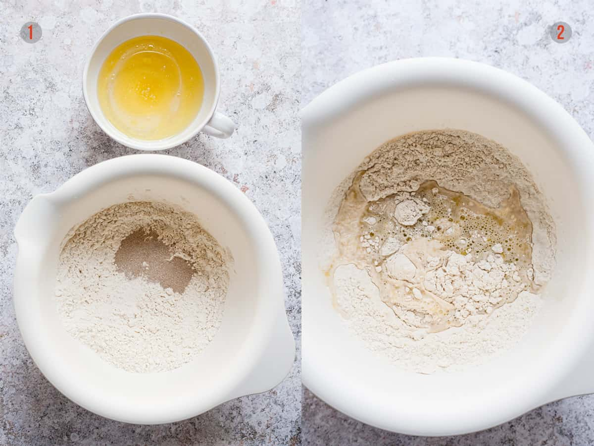 flour and water with yeast for making pizza dough.