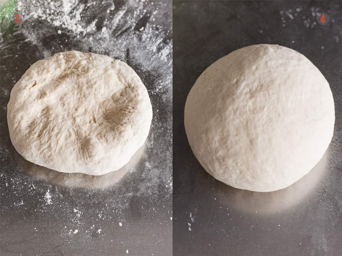 Pizza dough being kneaded on a floured surface.