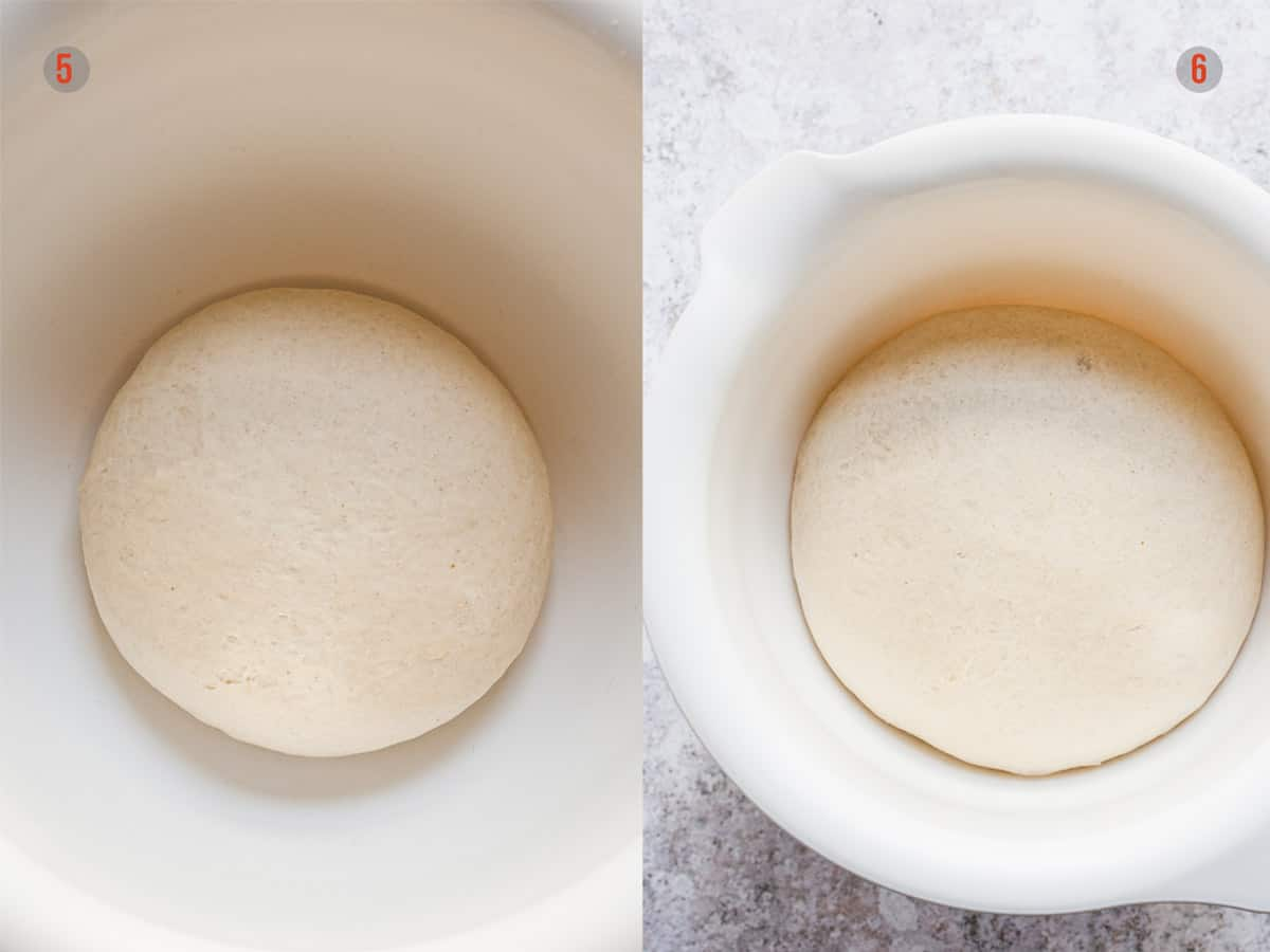 pizza dough before and after rising.
