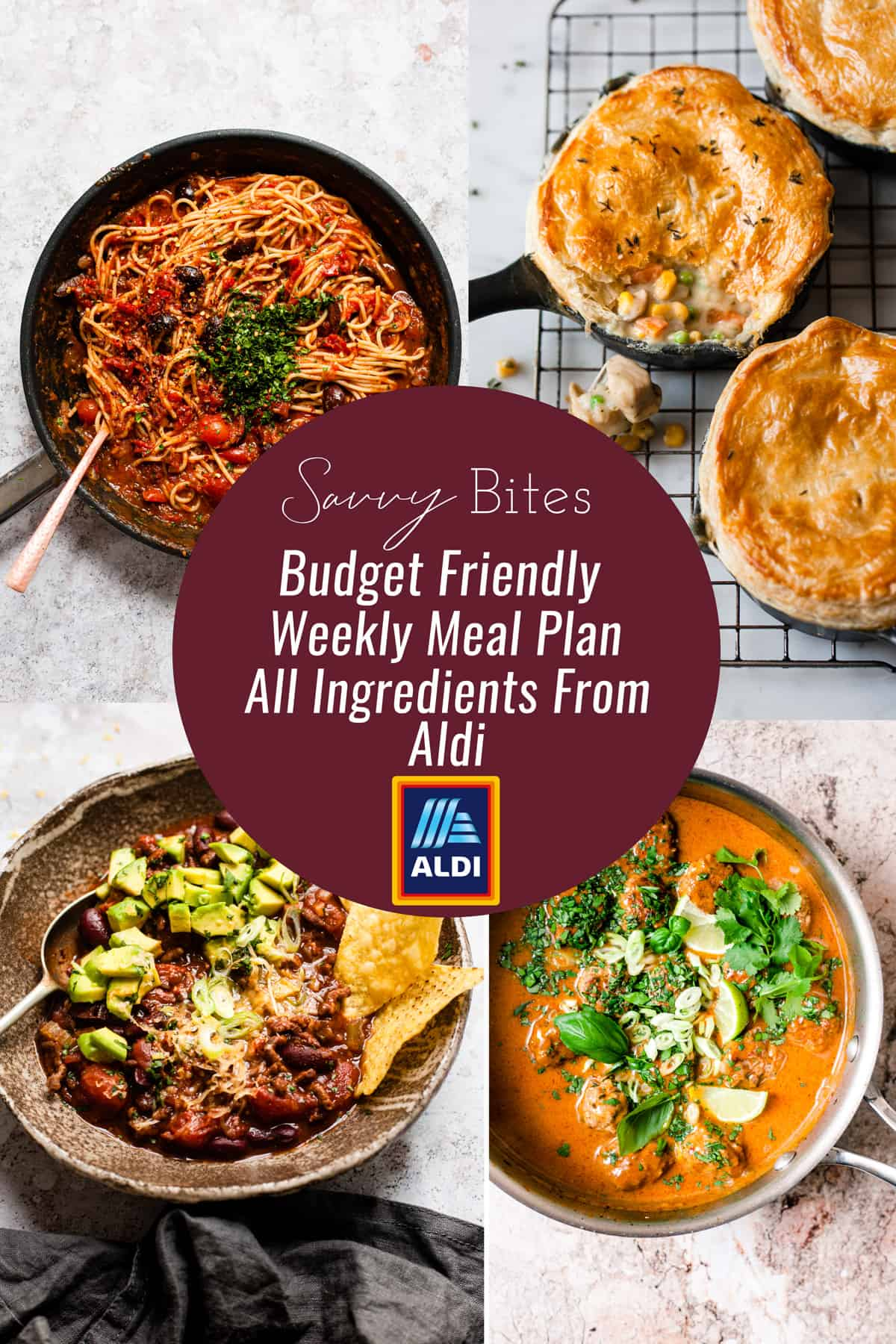 Aldi budget meal plan photo collage