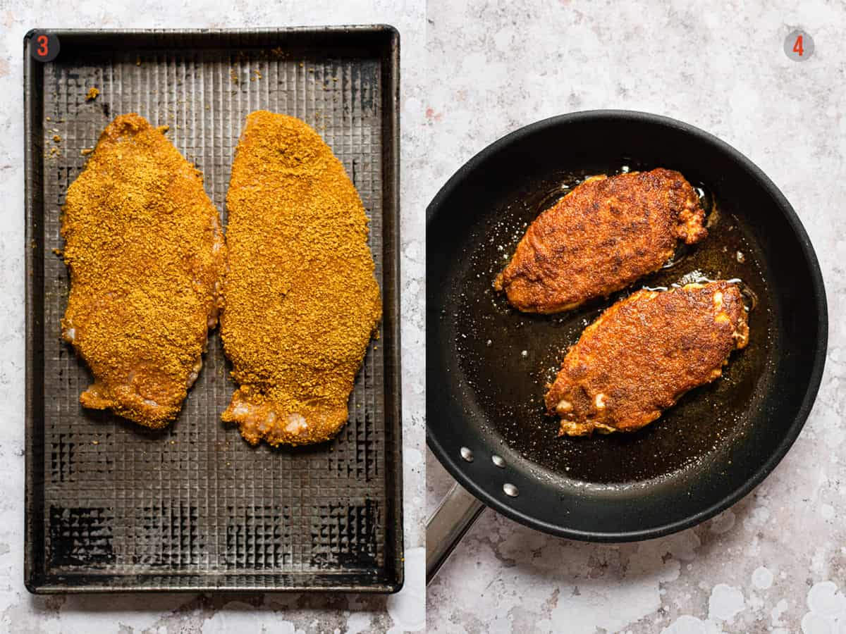 Gently frying the chicken for Katsu curry