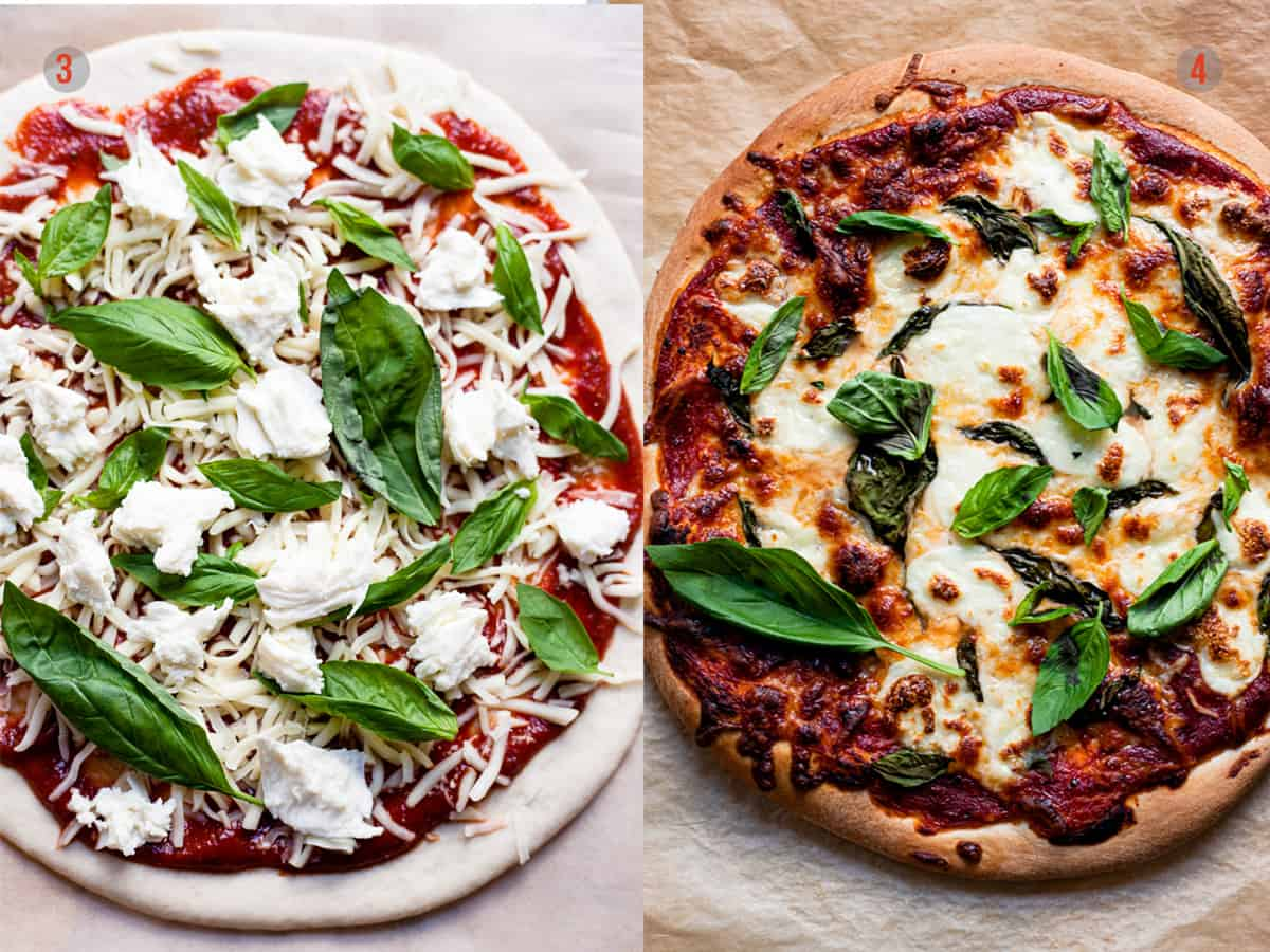 Margherita pizza before and after baking.