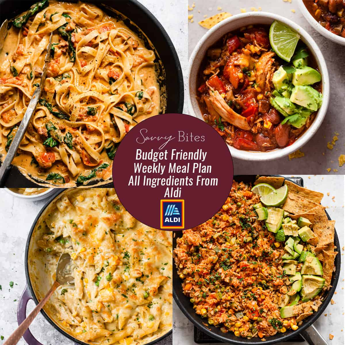 Aldi meal plan photo collage with text overlay