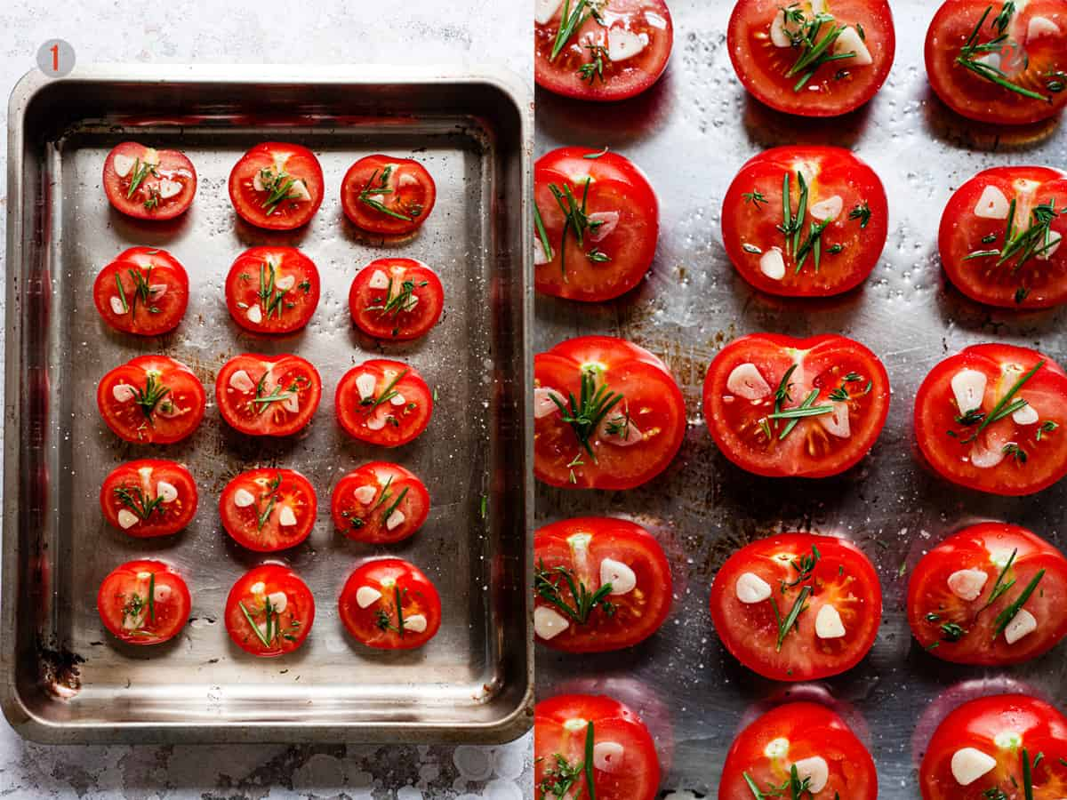 tomatoes on a baking tray before roasting.