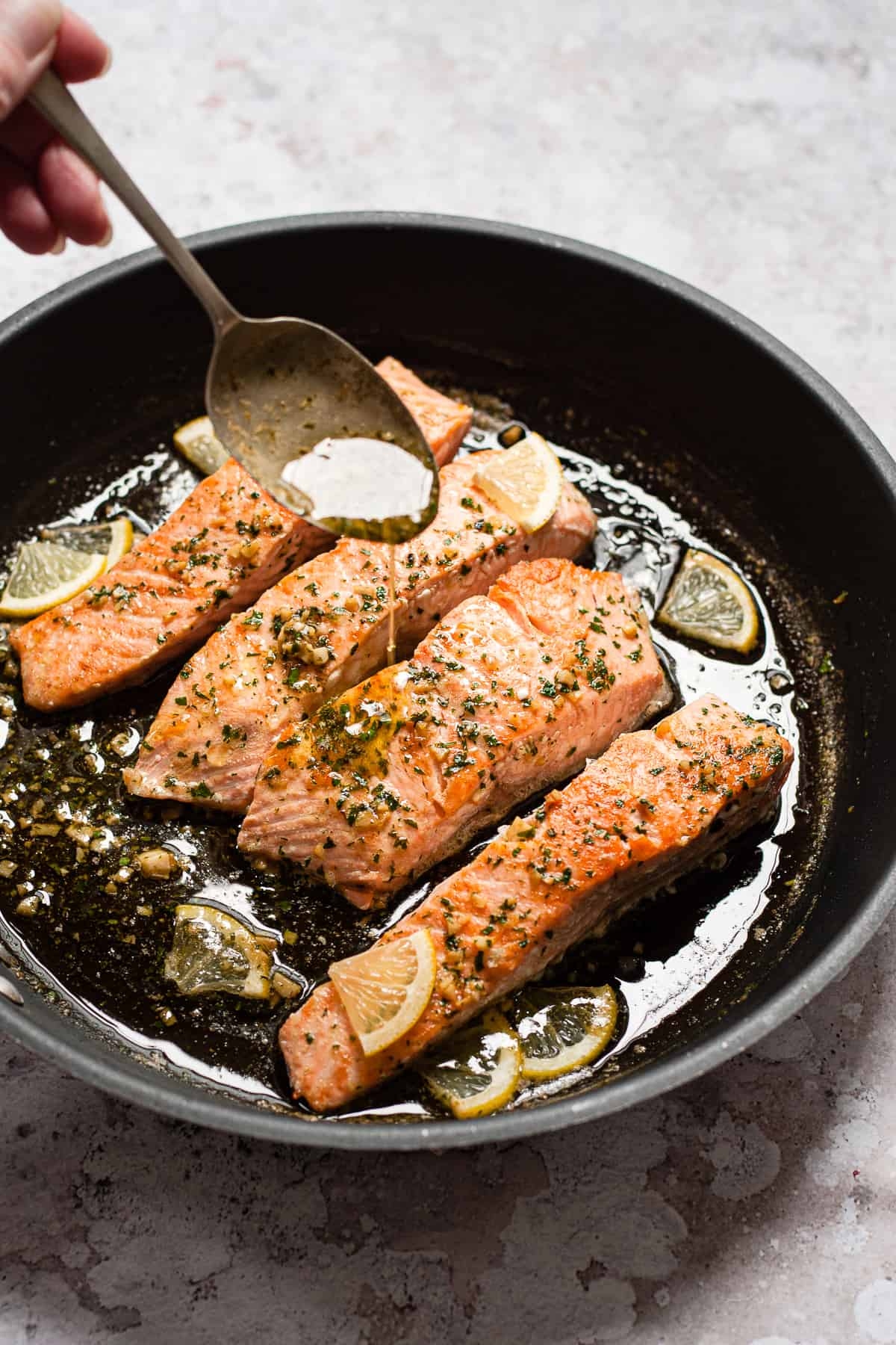 pan fried salmon with easy garlic butter parsley sauce