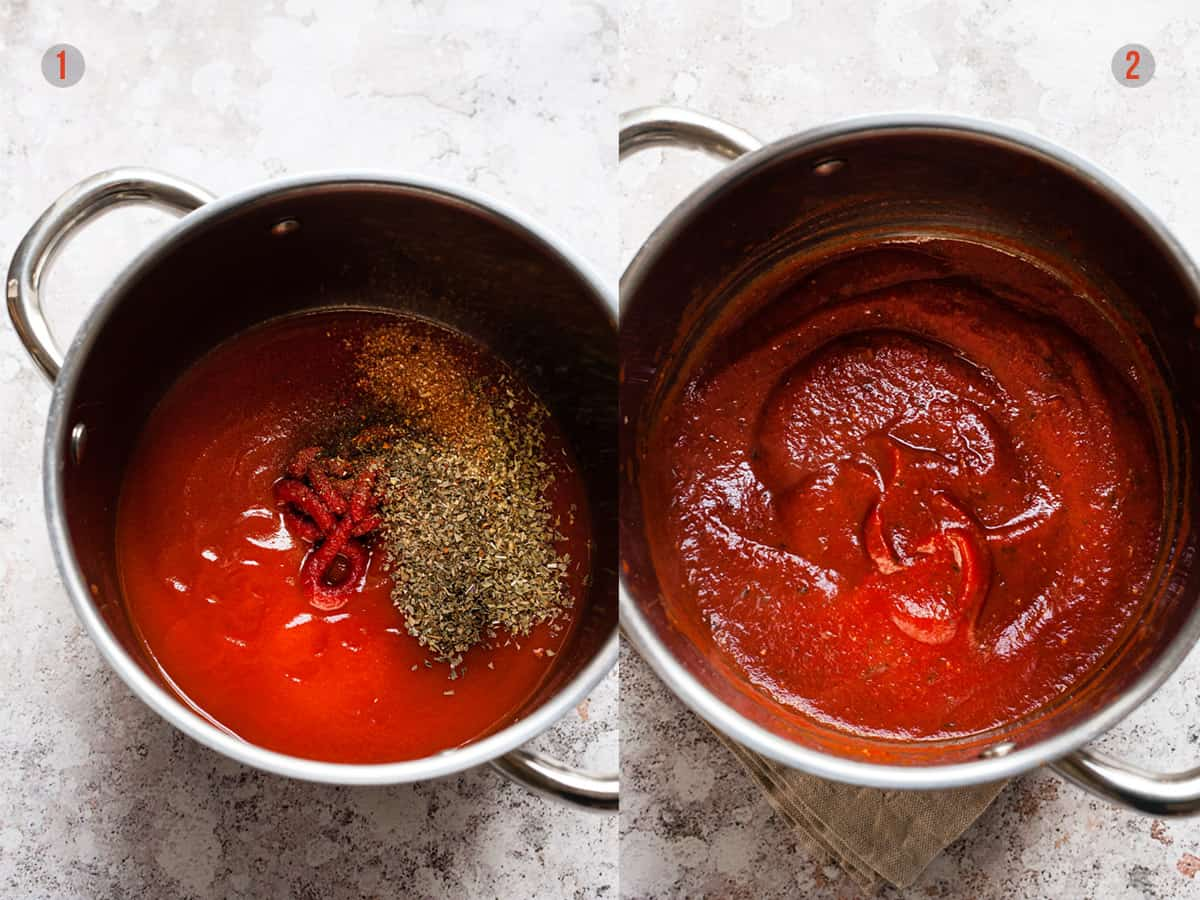 pizza sauce in a sauce pot before and after thickening.