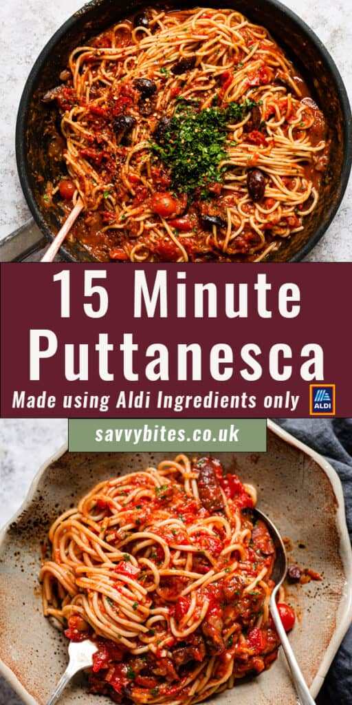 Puttanesca pasta with text overlay