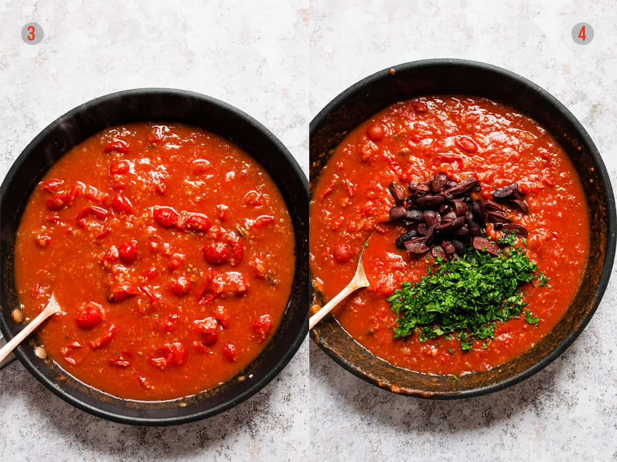Tinned tomatoes, olive and parsley in a non stick skillet