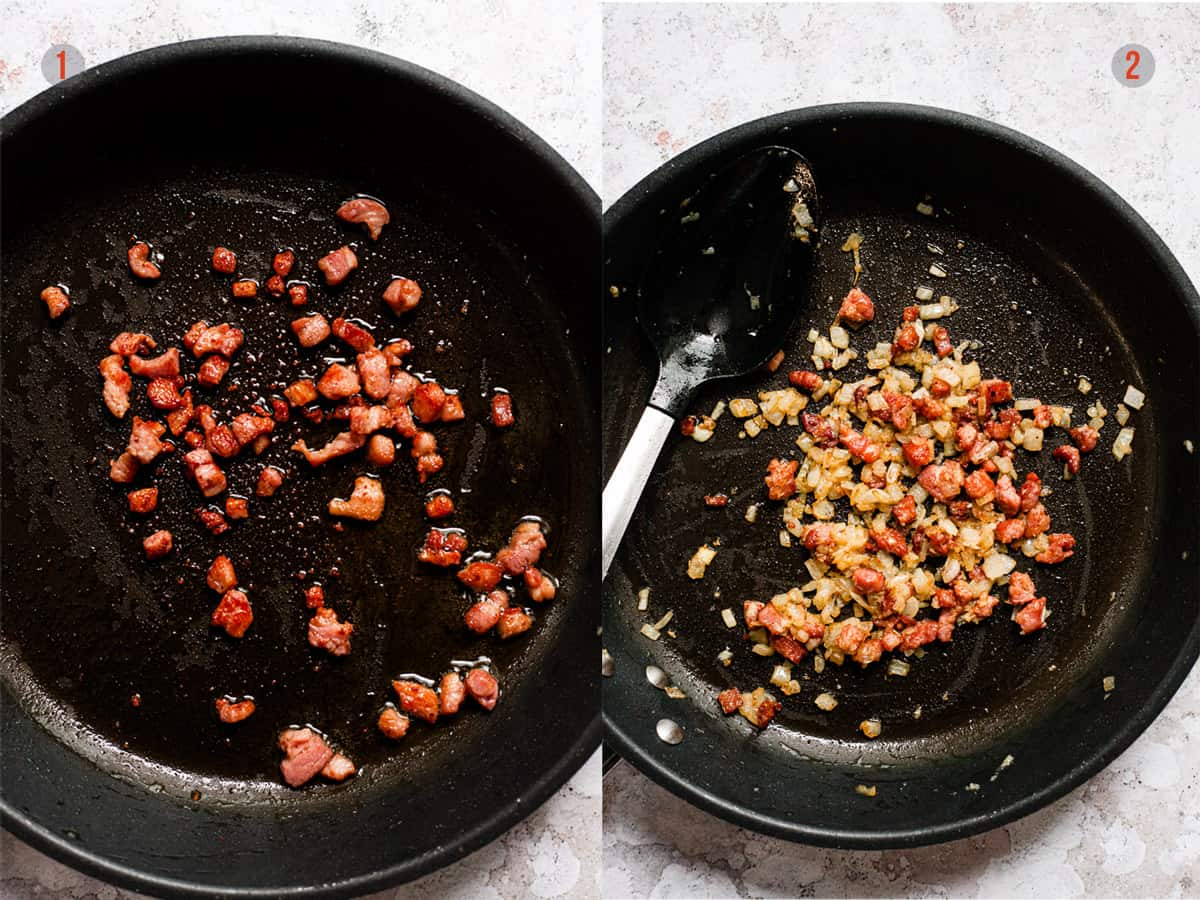 Pancetta cooking in a pan for pasta sauce