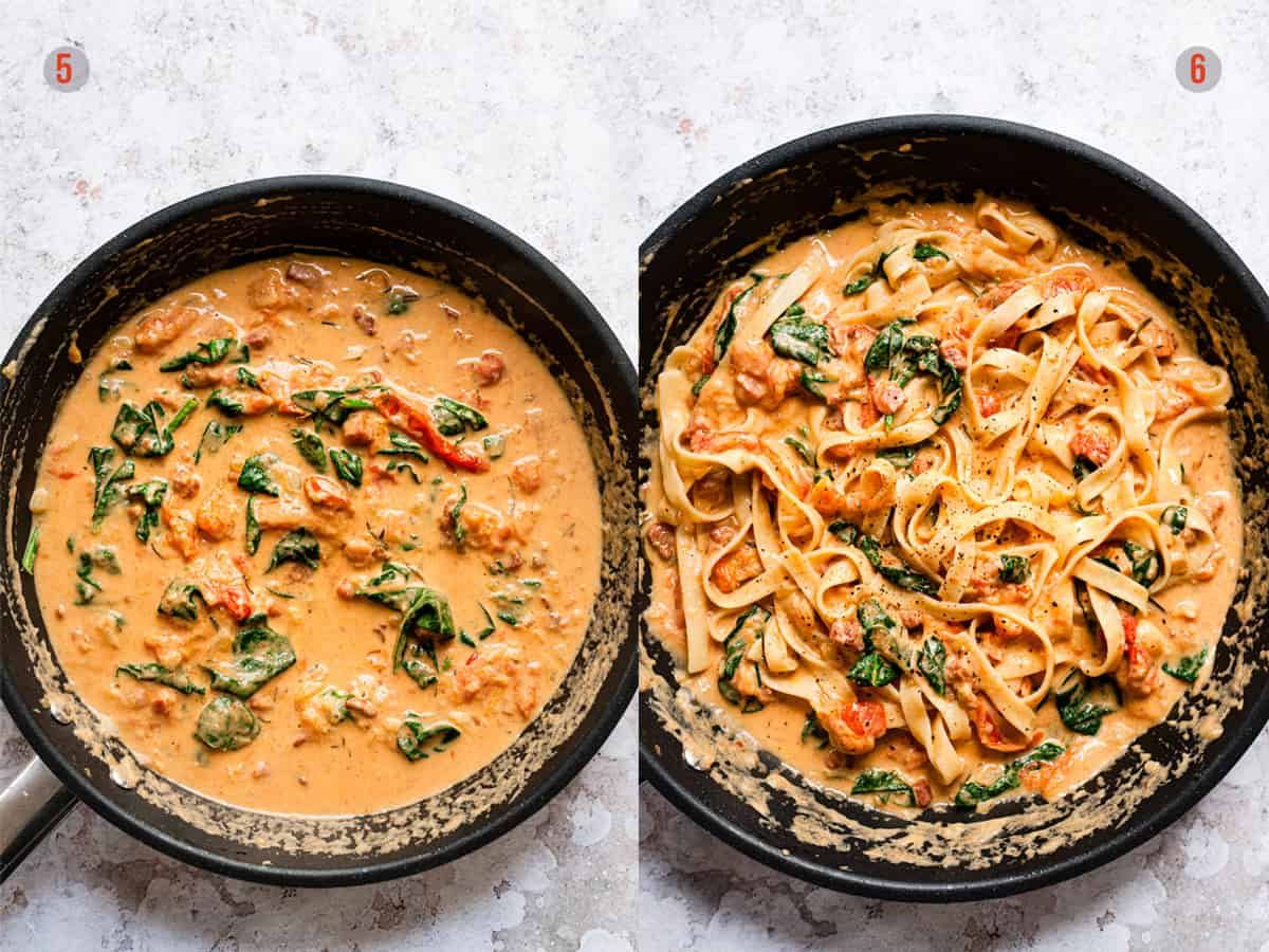 Tuscan style roasted tomato pasta sauce in a pan