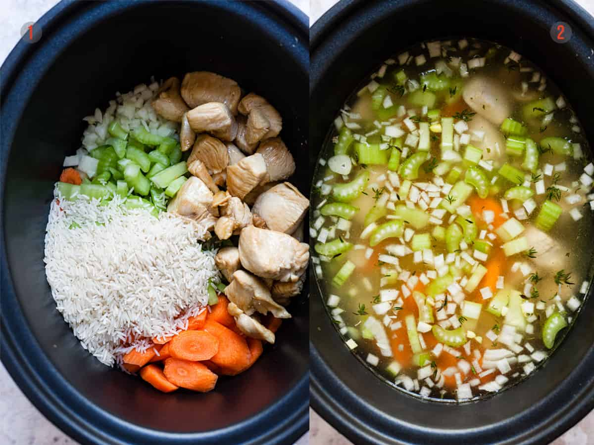vegetables and chicken in the slow cooker for soup