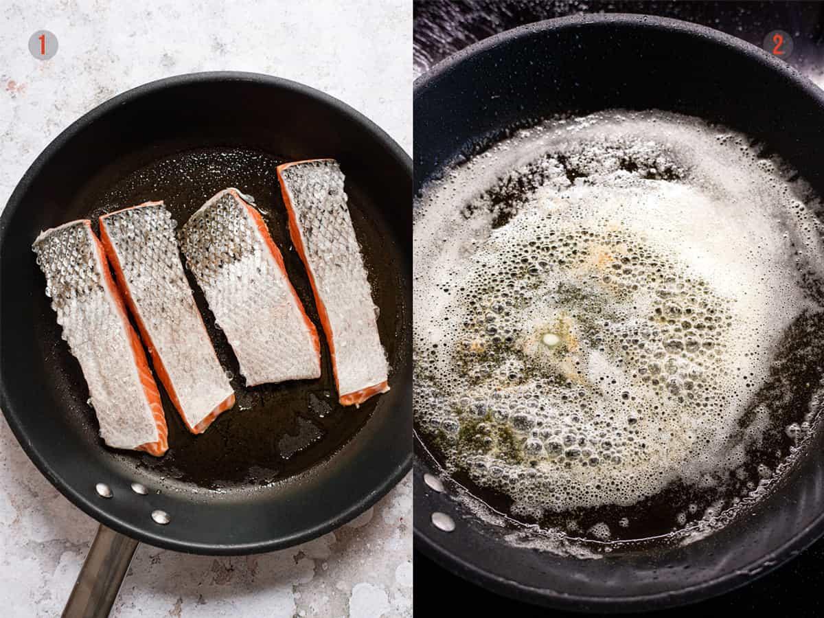 Pan fried salmon in garlic butter sauce