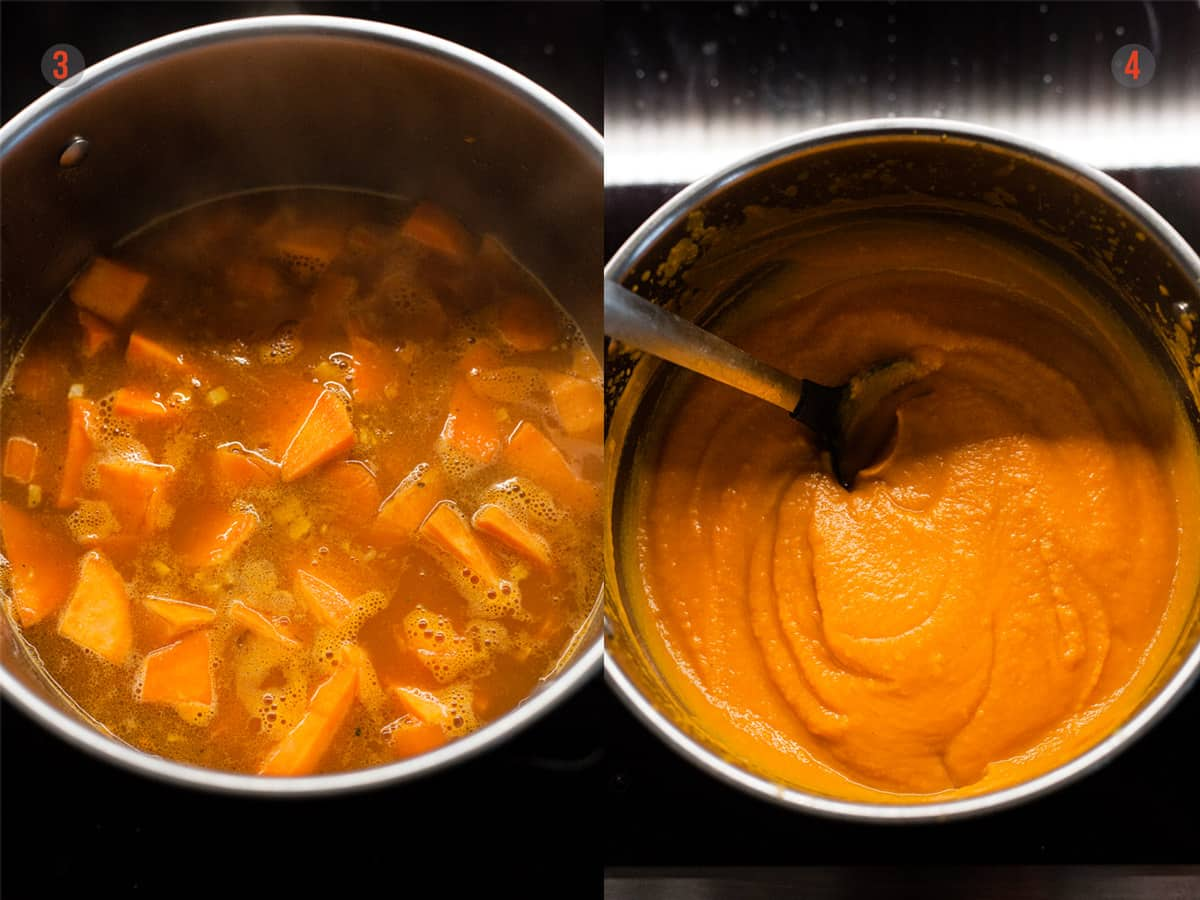 sweet potato and carrot soup before and after blending