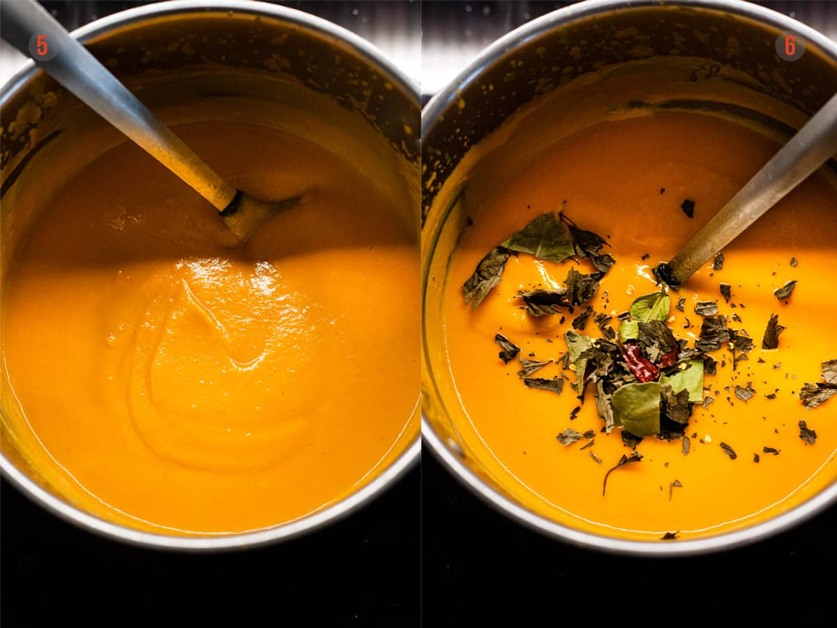 blended sweet potato soup before and after spices being added